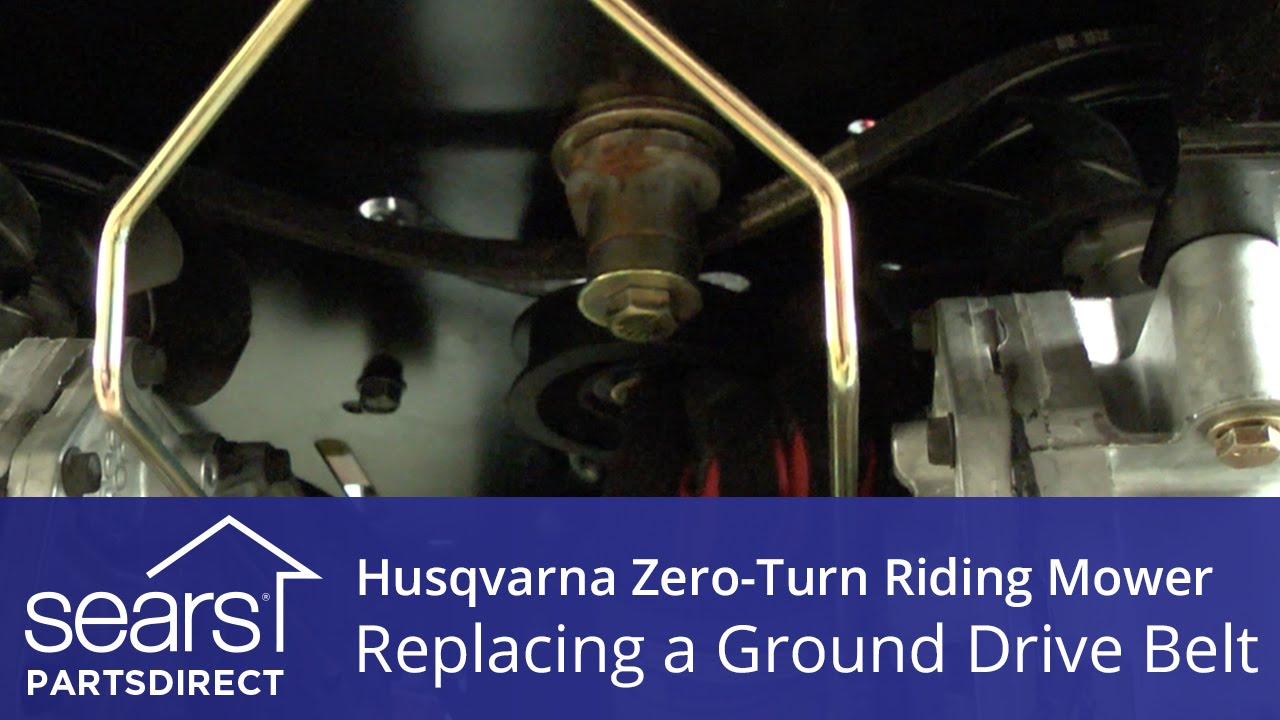 how to replace a husqvarna zero turn riding mower ground drive belt  how to replace a husqvarna zero turn riding mower ground drive belt youtube