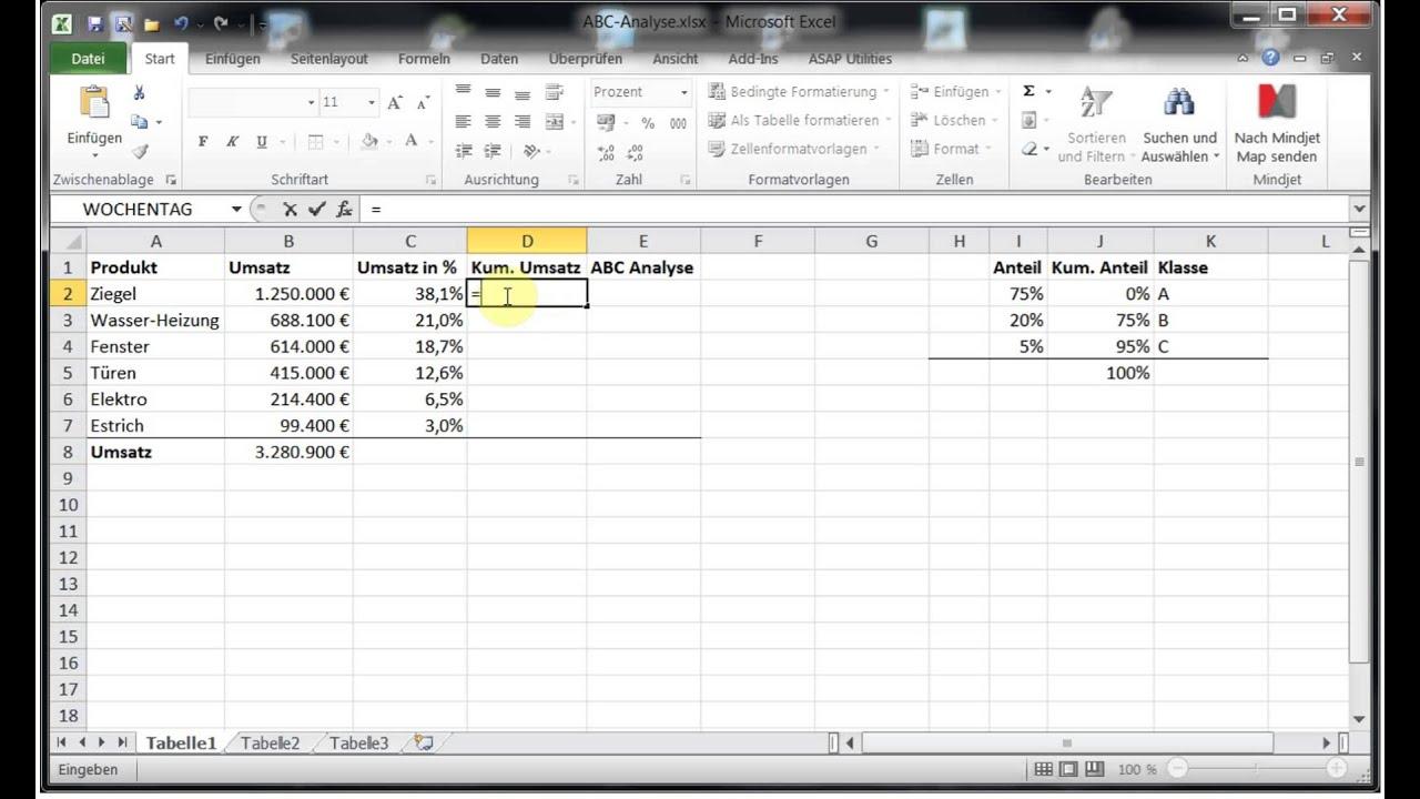 So Konnen Sie Eine Abc Analyse In Excel Erstellen Exceltricks