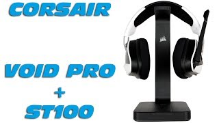 corsair void pro rgb premium gaming headset st100 rgb headset stnder unboxing kurzreview