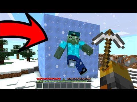 Minecraft MARK FRIENDLY ZOMBIE FROZEN INSIDE ICE BLOCKS MOD / SAVE MARK FRIENDLY ZOMBIE!! Minecraft