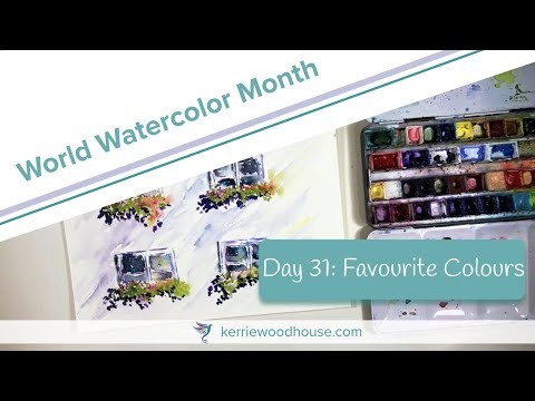 WINDOW BOXES WATERCOLOUR PAINTING TIME LAPSE   WORLD WATERCOLOR MONTH Day 31