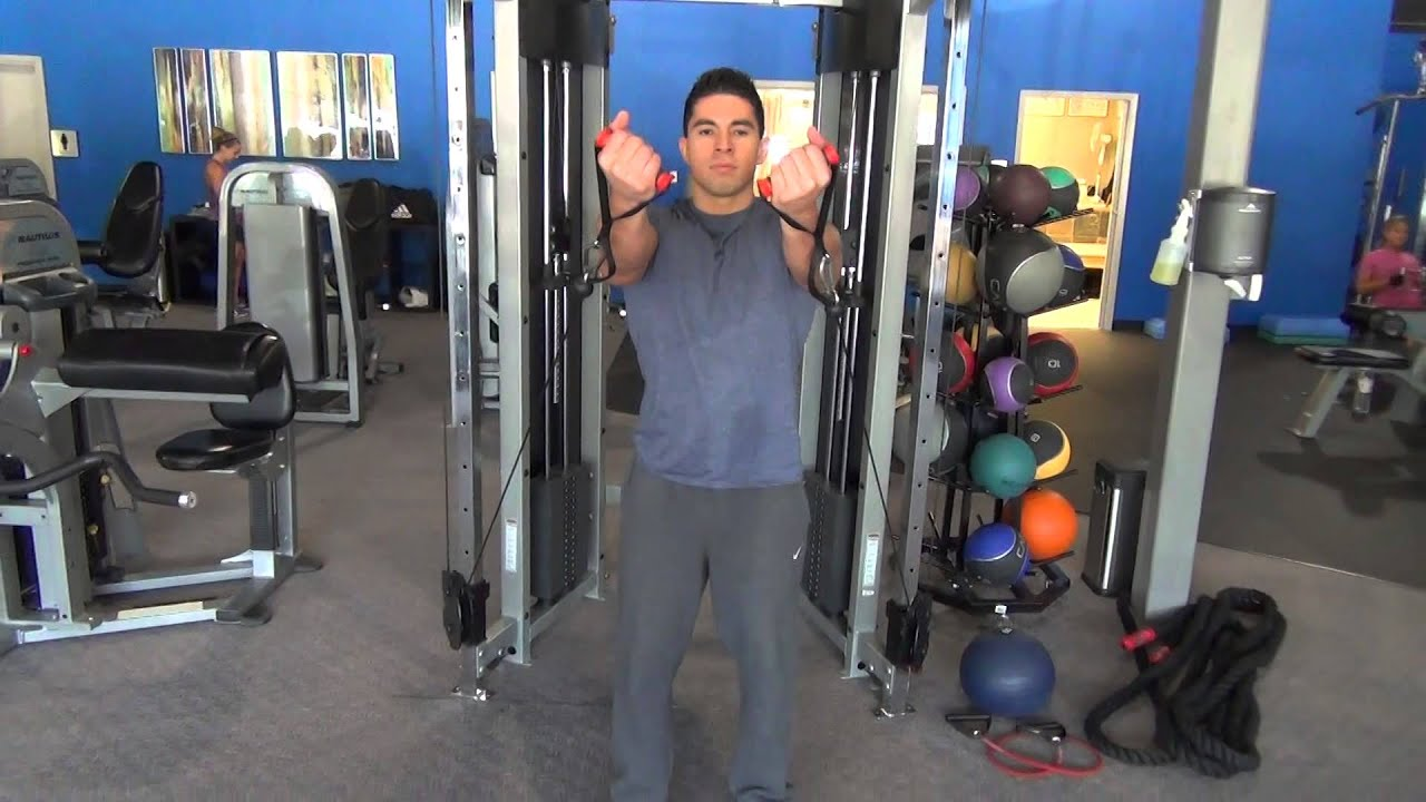 Cable underhand front raises double youtube for Floor underhand cable fly