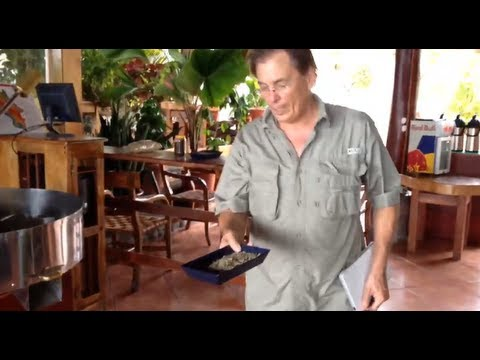 How Green Coffee Beans are Roasted - El Avion Restaurant Café, Costa Rica - Mar 3, 2013