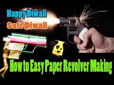 How to make a easy  Paper Revolver craft  that Shoots and Paper Gun and pupets by inba art