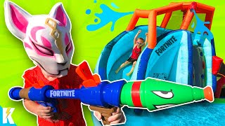 NERF Super Soaker Obby 2.0 & FORTNITE GEAR TEST | KIDCITY