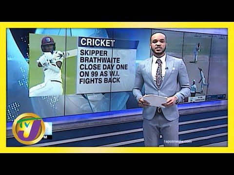 Brathwaite 1 Run away from 9th Test Century   TVJ Sports