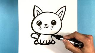 How to Draw a Cute Kitty Cat - Cute Animals to Draw