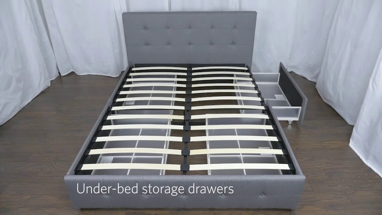 d2b416fc83e DHP Rose Upholstered Bed with Storage - YouTube