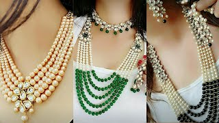 Latest Designs Of Pearl Neckless For Wedding||New Fancy Pearl Neckless Designs||