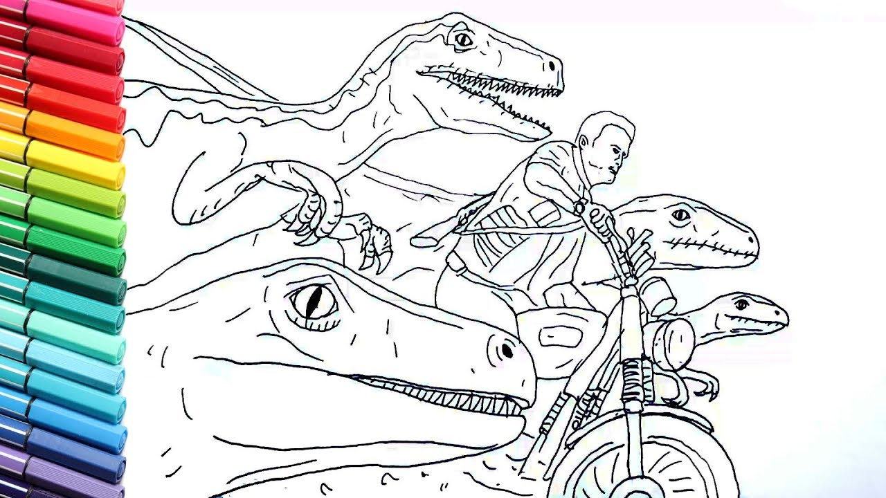 Drawing and Coloring Jurrasic World Raptor and Motorbike  Dinosaurs Color  Pages for Childrens