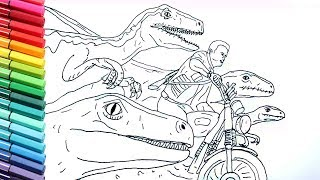 Drawing and Coloring Jurrasic World Raptor and Motorbike | Dinosaurs Color Pages for Childrens