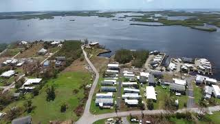 Drone flyover of Chokoloskee island after Irma