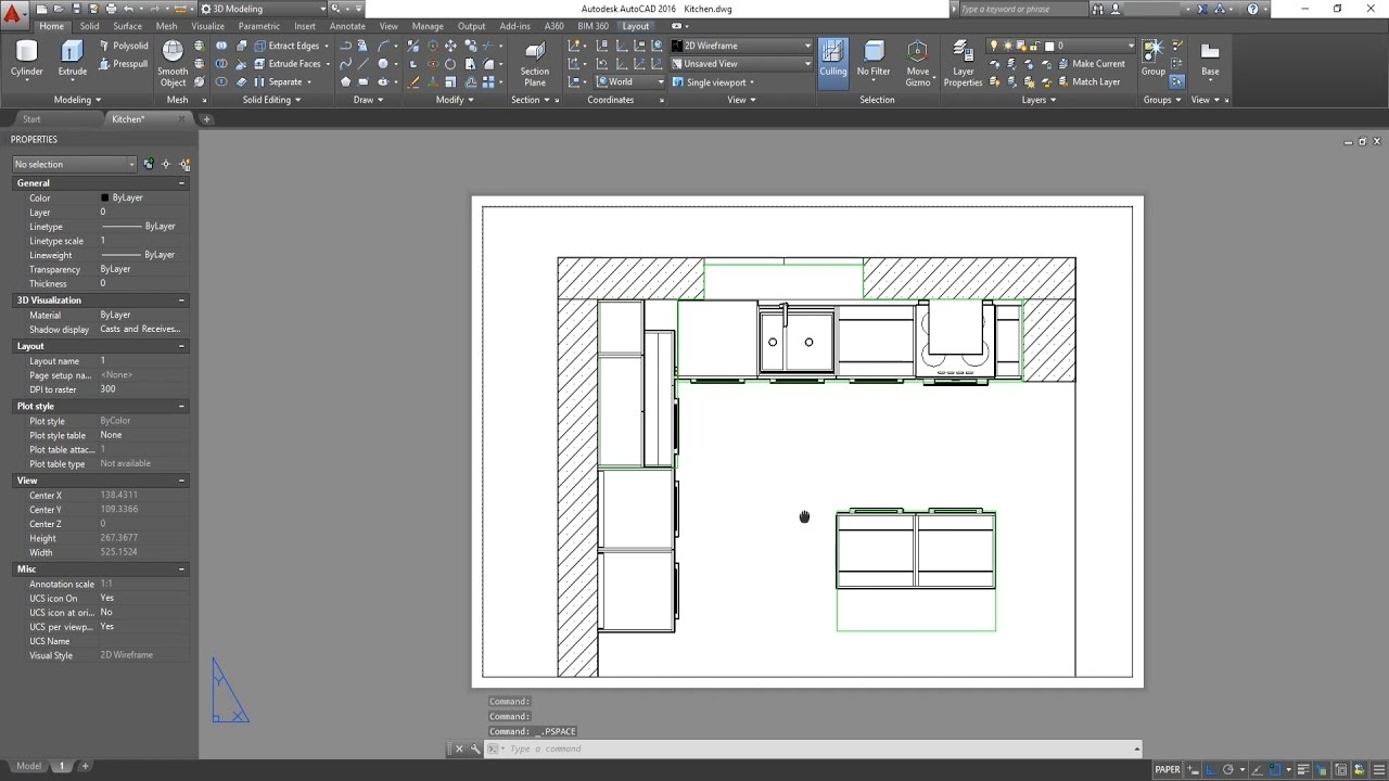 3d basic kitchen in autocad viewports