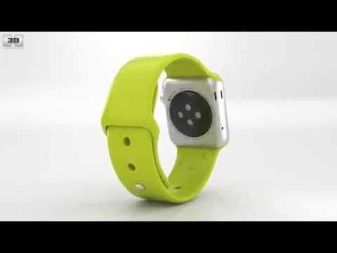 apple-watch-sport-38mm-silver-aluminum-case-green-sport-band-by-3d-model-store-humster3d.com