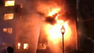 FORT LEE FIRE DEPARTMENT BATTLING MAJOR MULTI ALARM VALENTINE'S DAY INFERNO IN APARTMENT BUILDING.