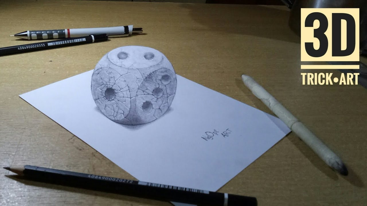 How To Draw Rounded Stone Dice 3d Trick Art 3d Drawing Youtube