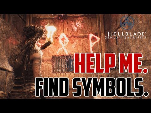 Hellblade Senuas Sacrifice : Rune Symbol Gate Puzzle in Darkness with Torch D Fish P Signs