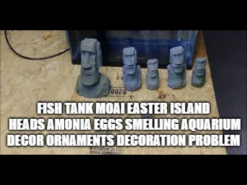 Smelly Fish Tank Moai Easter Island Heads & Amonia Eggs Smelling Aquarium Decorations Ornaments.