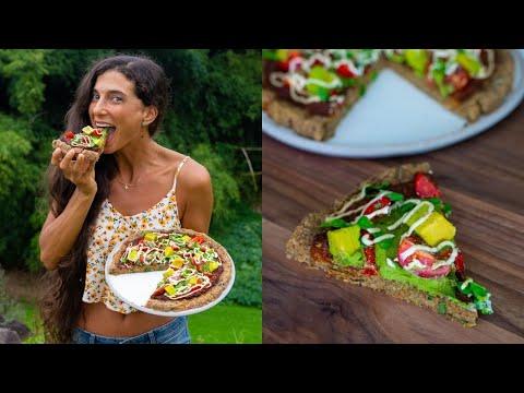 BEST RAW VEGAN PIZZA RECIPE! 🍕 Deep Dish with Marinara, Pesto & Cheese! 🧀 FullyRaw