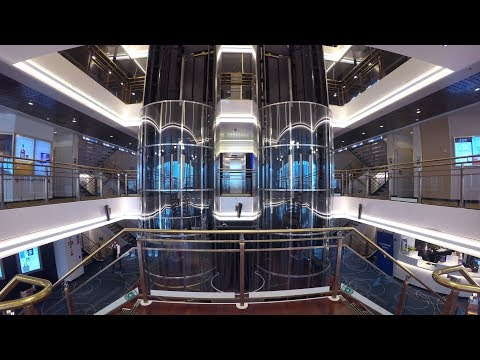 A glass hydraulic elevator ride on a moving boat! MS Silja Europa cruiseferry