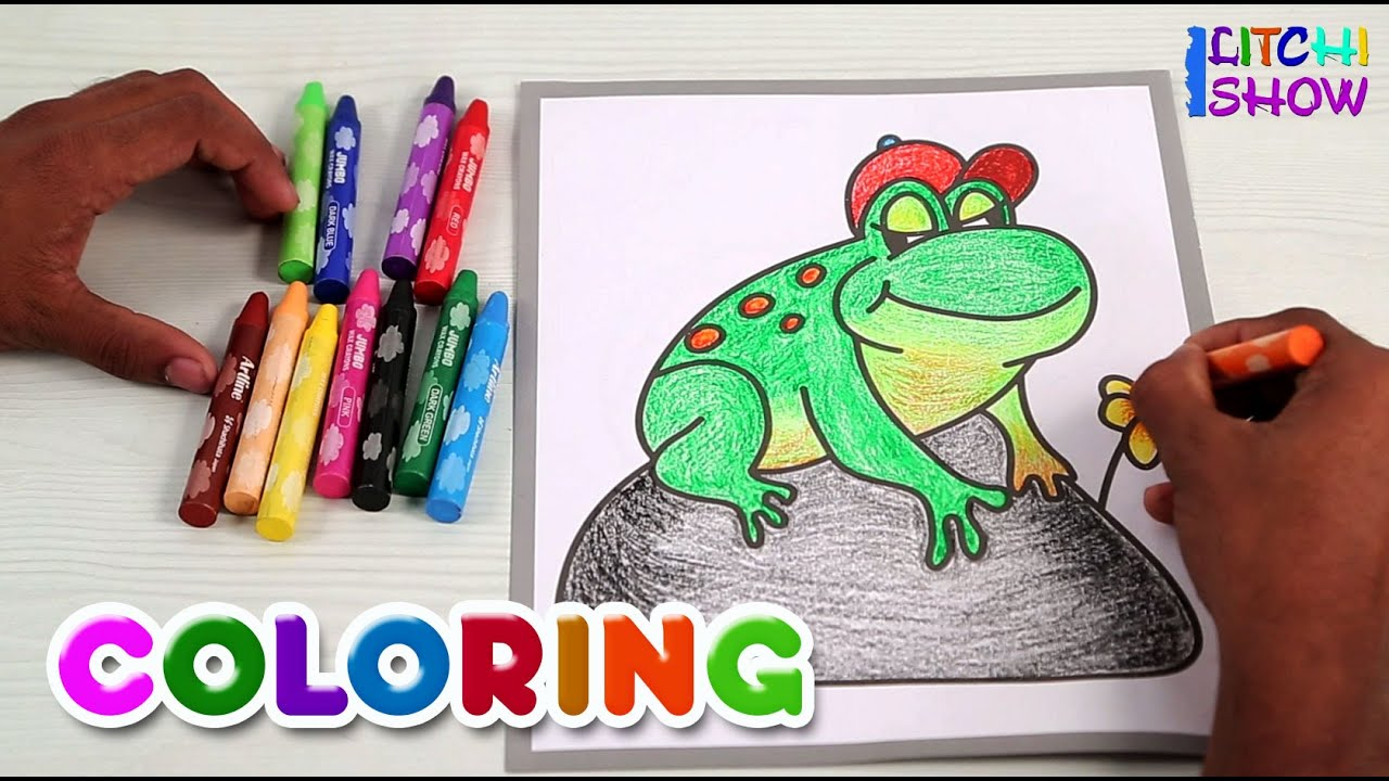 Coloring With Crayons Frog Children
