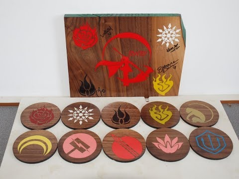 [RWBY] Custom Resin Inlay Coasters - DIY Video
