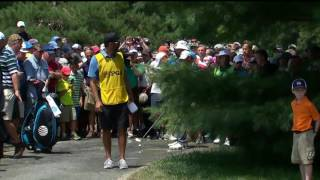 Jordan Spieth's drive on 7th hole ends up in puddle on cart path
