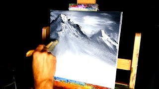 Black and white mountain simple painting for beginner