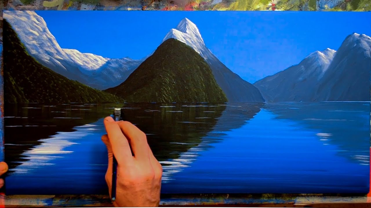 painting mountains with water reflections in acrylics