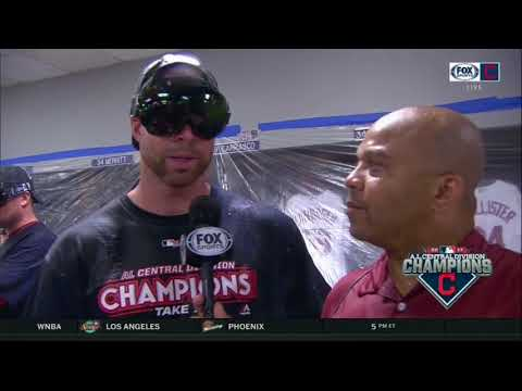 Corey Kluber gets doused with champagne, doesn