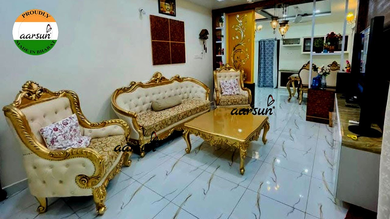 YT-533 Royal Living Room Sofa Set in Classic Gold by Aarsun India