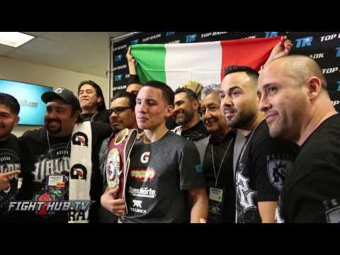 Oscar Valdez celebrating in locker room after beating Miguel Marriaga