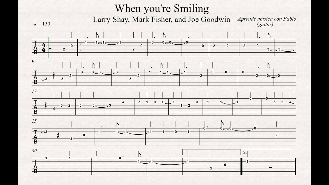 When You Are Smiling Tab Guitarra Tablatura Con Playback
