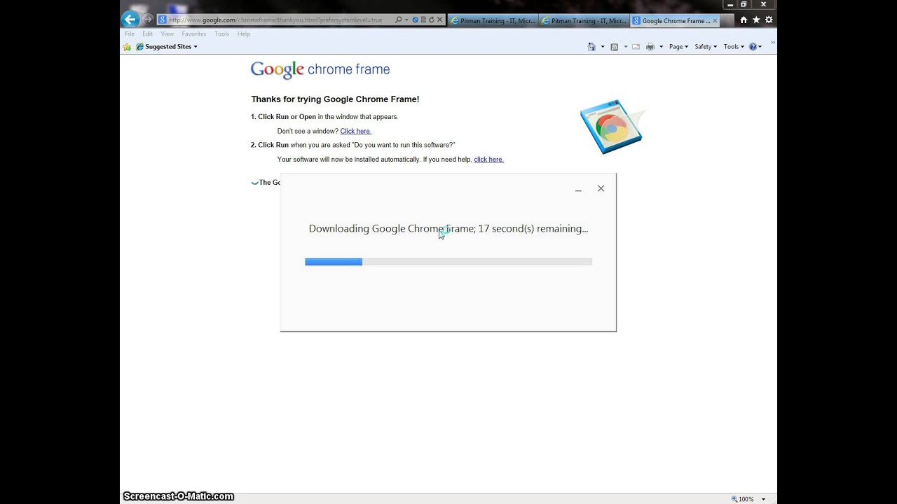 Installing Google Chrome Frame - Internet Explorer - YouTube