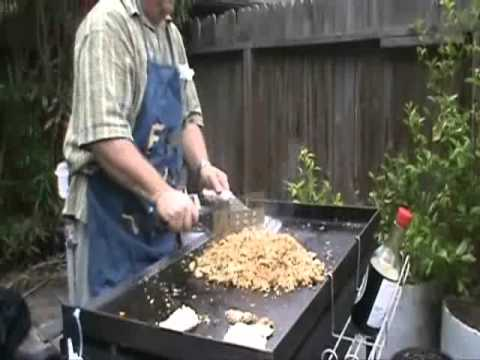 Blackstone Grill Pork Fried Rice And Shrimp Youtube