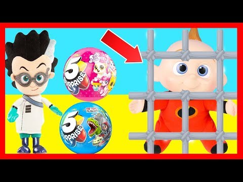 Zuru 5 Surprise Jail Challenge with Jack Jack from Incredibles 2 Movie and PJ Masks Romeo