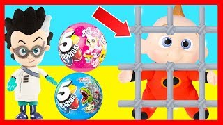 Zuru 5 Surprise Jail Challenge with Jack Jack from Incredibles 2 Movie and PJ Masks Romeo
