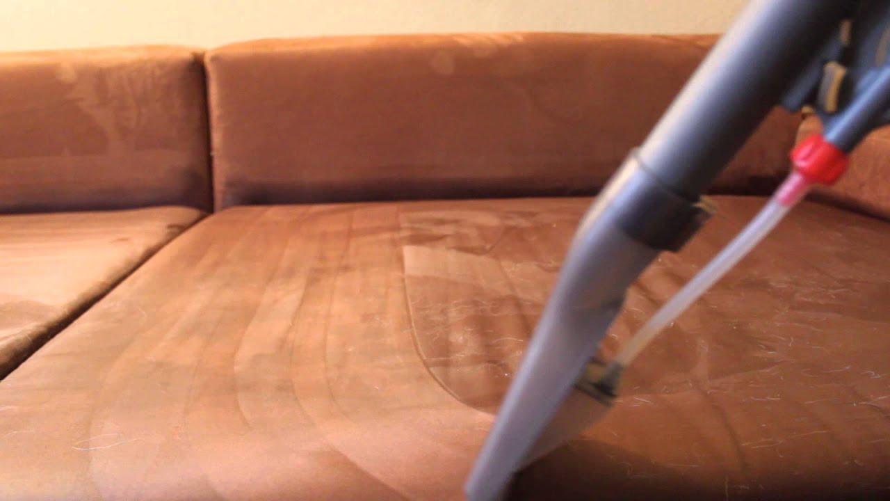 Reinigung einer Microfaser-Couch durch Sprühextraktion - YouTube