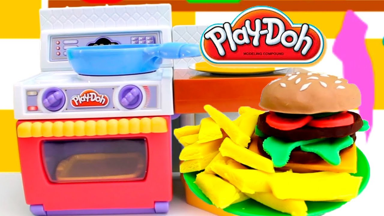 Play doh meal makin kitchen playset burger fries play dough kitchen cocina toy food videos - Cocina play doh ...