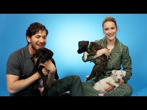 Rachel Brosnahan And Michael Zegen Play With Puppies While Answering Fan Questions