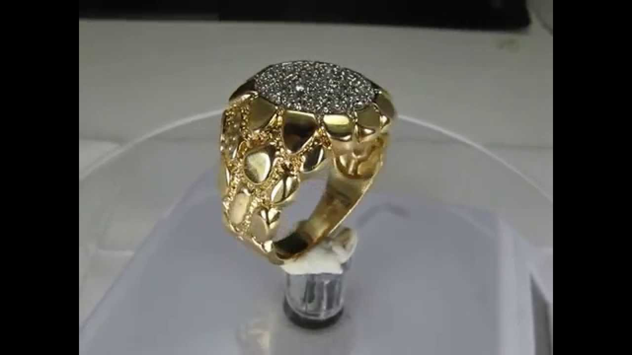 Estate KY nugget Diamond ring 10K Yellow Gold Men Mens Men