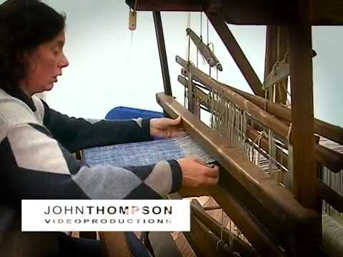 Hand weaving linen on a small loom plus interview with Hermann Bauer