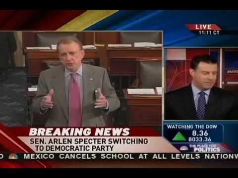Breaking News: Sen. Specter Switches To Democratic Party 4-28-09