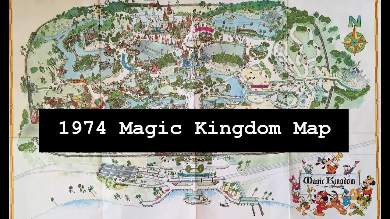 1974 Magic Kingdom Theme Park Vintage Map In Walt Disney World - YouTube