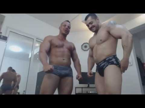 Gabriel Dominus & Carin the Bodybuilder flexing