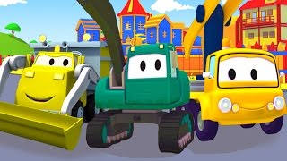 Excavator , Dump Truck & Crane the Construction Squad & Friends in Car City | Truck Cartoon for Kids