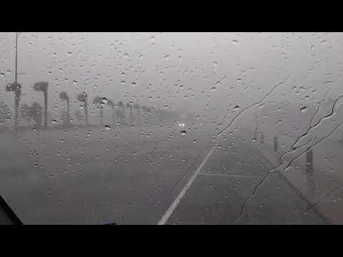 Hurricane Harvey Saturday around 10 a.m. on the Seawall in Galveston Day 2