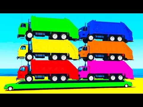 Thumbnail: COLOR GARBAGE TRUCK on Long CAR & Spiderman Cartoon for Kids & Colors for Children w Nursery Rhymes