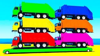 COLOR GARBAGE TRUCK On Long CAR & Spiderman Cartoon For Kids & Colors For Children W Nursery Rhymes