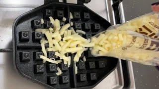 와플팬에 모차렐라 치즈 구워 먹기 #waffle #wa…